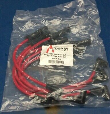 A-Team AMC Jeep 6 Cylinder 232 258 56-88 Inline-6 RED HEI 8MM Spark Plug Wires