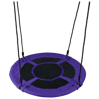 "40"" 100CM Saucer Rotate Tree Nest Swing, 400lbs Flying Giant Rope Swing - Purple"