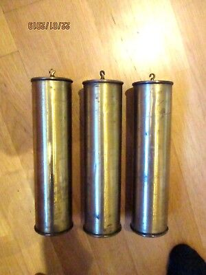 Three Brass Cased  Edwardian Longcase Clock Weights.