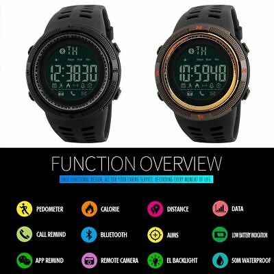 SKMEI 2018 Fashion Smart Watch Bluetooth Digital Sports Wrist Watch Waterproof
