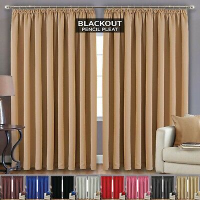 Ready Made Fully Lined Thermal Pencil Pleat Blackout Pair Curtains Inc Tie Backs