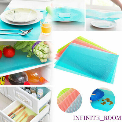 4Pcs Refrigerator Fridge Washable Mat Pad Drawer Liners Kitchen Waterproof Shelf