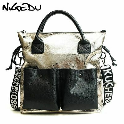 Shining Women Fashioned Handbags Large Wide Strap Shoulder Female Patchwork Bags