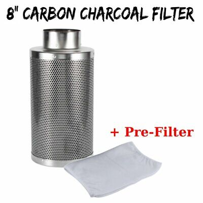"""8"""" Hydroponics Air Carbon Charcoal Filter Odor Control Scrubber Inline Fan BE"""