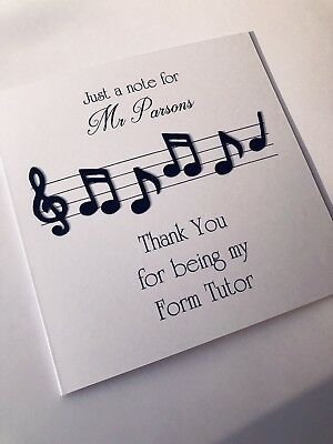 Personalised Handmade Thank You Birthday Card Music Teacher Musician Any Wording