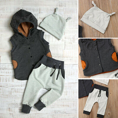 3PCS Kids Baby Boy Clothes Hooded Vest Tops+Long Pants Outfits Set Tracksuit