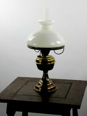 Antique Brass Oil Lamp with Milk Glass Shade - FREE Shipping [P4919]