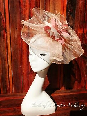 NUDE PINK #37 Feather Fascinator Melbourne Cup Wedding Spring Race Handmde