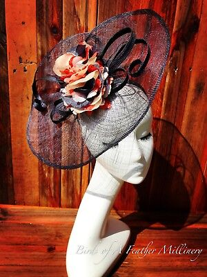 NAVY BLUE #8 Fascinator Flower Melbourne Cup Wedding Spring Racing Handmade