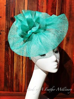 TURQUOISE #45 Fascinator Flower Melbourne Cup Wedding Spring Racing Handmade