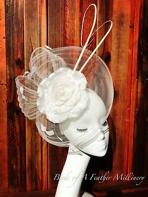 WHITE #27 Feather Flower Fascinator Melbourne Cup Wedding Spring Race Handmade