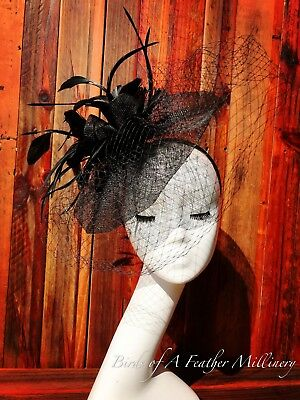 BLACK #33 Feather Veiled Fascinator Melbourne Cup Wedding Spring Racing Handmade