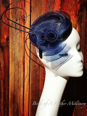 NAVY BLUE #21 Feather Flower Fascinator Melbourne Cup Wedding SpringRaceHandmade