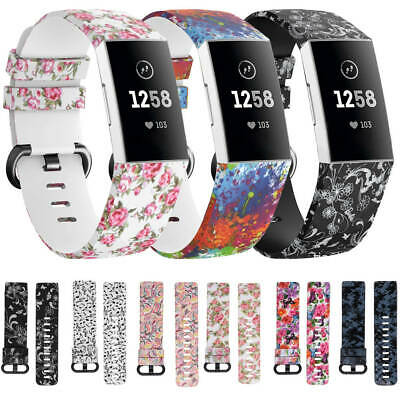 Replacement Silicone Watch Band Flower Floral Sport Strap For Fitbit Charge 3 AU