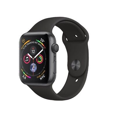 Apple Watch Series 4 40mm GPS Aluminium Space Grau Sport Band Schwarz NEU OVP