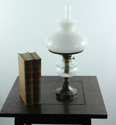 Antique Brass Oil Lamp with Milk Glass Shade - FREE Shipping [P4920]