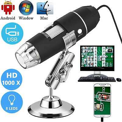 1000X Zoom 8 LED USB Microscope Digital Magnifier Endoscope Camera Video w/Stand