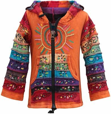 Children Pixie Colorful Hoodie Sun Patcwork Kids Boho Hippie Jacket