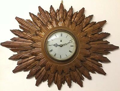 Large Vintage Smiths Sunburst Key Wind Mechanical Clock / Runs Very Well