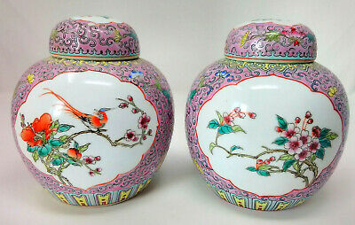 """Pair Chinese Famille Rose Ginger Jars & Covers Pink Ground Birds Flowers 6"""" 15cm"""