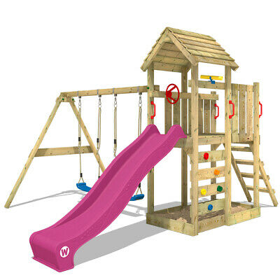 """WICKEY Climbing Frame Swing Set """"MultiFlyer"""" with wooden roof and pink slide"""