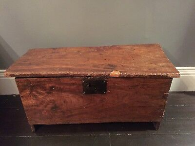 Antique 17th Century 6 Plank Oak Coffer Relief Carved Edging