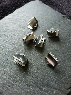 """30 Stainless Steel 10mm (3/8"""") Wide Ribbon Crimp Ends 10x10mm Findings Crimps UK"""