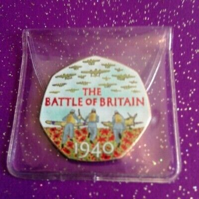 Circulated Coloured 2015 Battle Of Britain 50P Coin