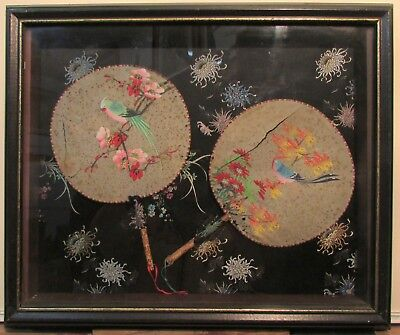 Antique Oriental Pair Of Hand Fans Hand Painting On Rice Paper C 19th Century