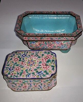 Antique Chinese Canton Cantonese Jardiniere - Planter And Box On Pink Ground