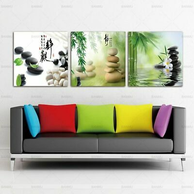Zen Stone Flower Bamboo Wall Art Picture Canvas Paintings Home Decor 3 Panels