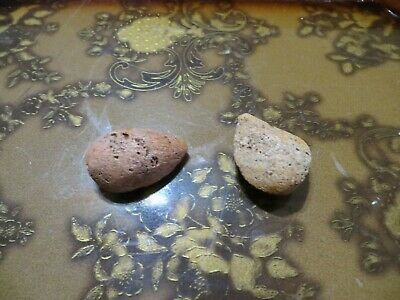 (2) Antique Alabaster Stone Marble Almond Hand Painted