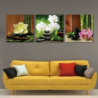 Modern Giclee Artwork Zen Basalt Stones Flowers Bamboo Canvas Paintings 3 Panels
