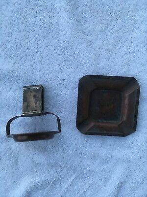 Black Starr & Frost Sterling Copper Matchbox Ashtray Antique Set  Deco Vintage