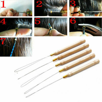 5 x Micro Rings Nano Ring Wooden Handle Loop Needle Extension Hook Threader Tool