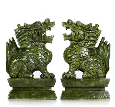 A Pair 100% Natural China Green Jade Carved Fengshui Kylin Qilin Beast Statues