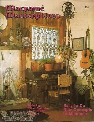 Macrame Masterpieces Vintage Pattern Book Bed Canopy Plant Hangers Curtain NEW