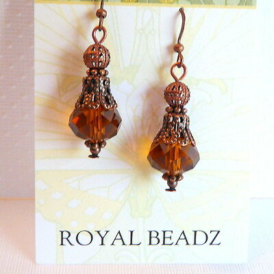 Amber Brown Crystal Victorian Art Nouveau Deco Style Copper Filigree Earrings