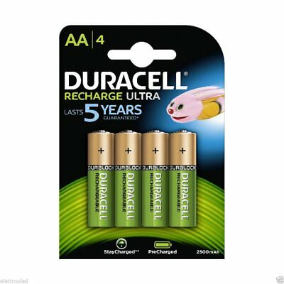 Duracell 8 Piles Rechargeables Recharge Ultra 5 years AA 2500 mAh NEUVES