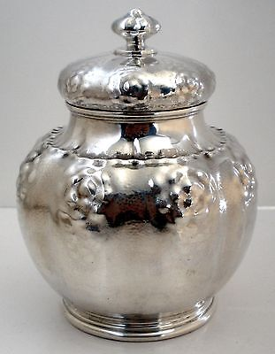 American Aesthetic Movement Hammered Sterling Tea Caddy Dominick & Haff 1884