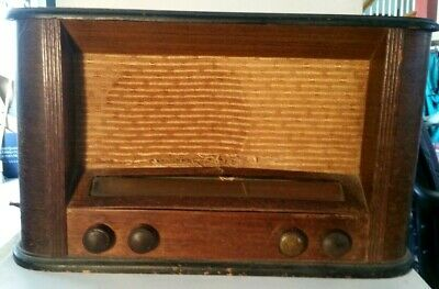 "VINTAGE~PHILCO AM & SHORTWAVE~19"" WIDE~6 TUBE WOOD TABLE RADIO~For Parts/Repair"