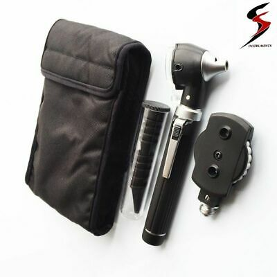 SS Fiber Optic LED Otoscope Ophthalmoscope  ENT Diagnostic Examination Kit CE UK