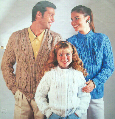 Ladies Mens Girls Boys Cable Cardigan KNITTING PATTERN Chunky 26 - 44in  719