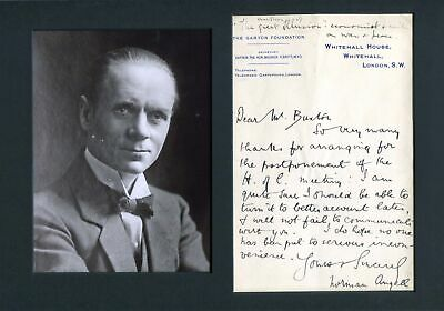 Norman Angell NOBEL PEACE PRIZE autograph letter signed & mounted
