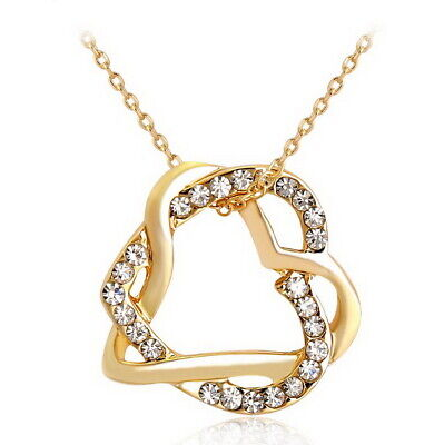Gold Filled Plated Women Love Heart Pendant Necklace Crystal Memory of Forever