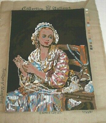 Large completed beaded tapestry Lady with Wool  Jean Baptise Greuze Twilleys