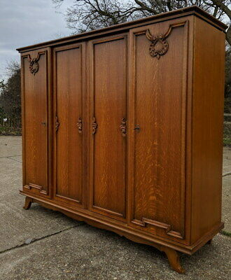 Vintage French Carved 4 door Armoire Wardrobe