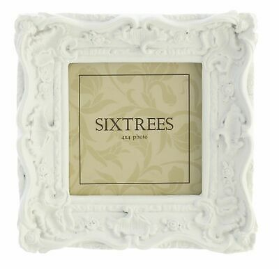 """Sixtrees Chelsea Shabby Chic Vintage Ornate White Photo frame 4""""x4"""" Picture"""