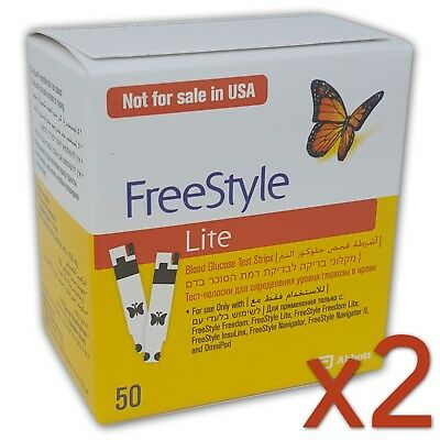 2 boxes (100 total) Freestyle Lite Blood Glucose Diabetic Test Strips. 2020-03