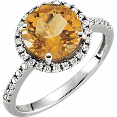 Citrine & 1/6 Ct. Tw. Diamant Bague 14k or Blanc